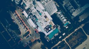 aerial view of large hotel building